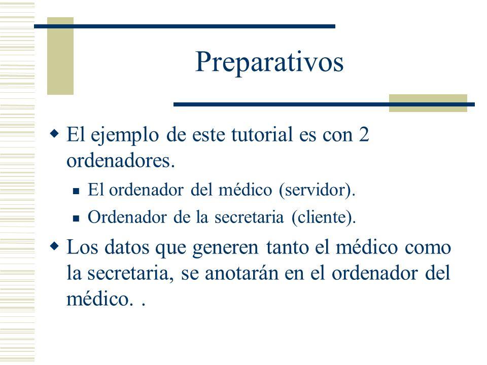 Preparativos El ejemplo de este tutorial es con 2 ordenadores. El ordenador del médico (servidor). Ordenador de la secretaria (cliente). Los datos que