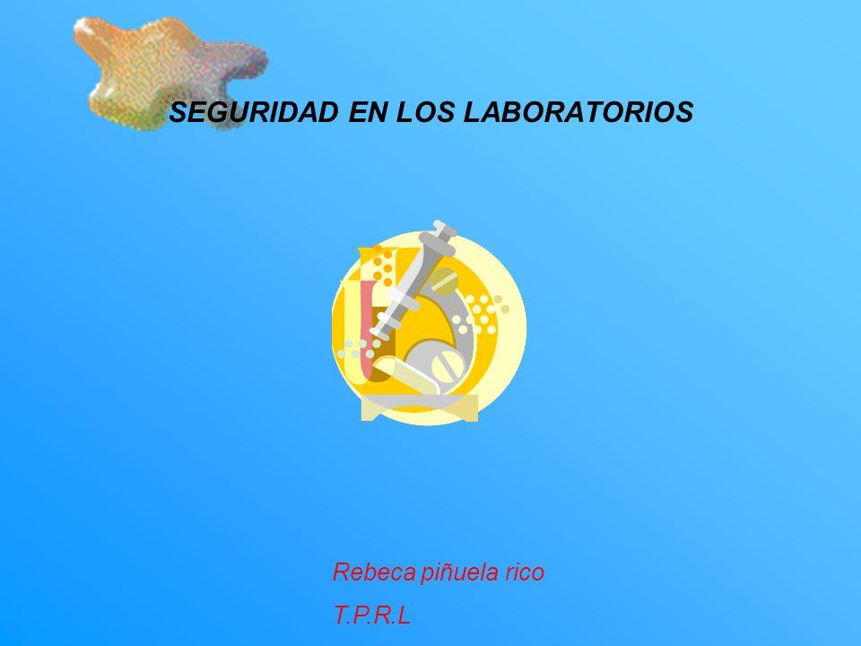 SEGURIDAD EN LOS LABORATORIOS Rebeca piñuela rico T.P.R.L