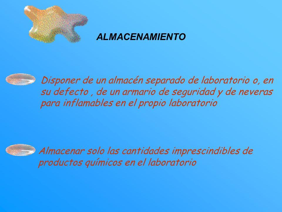 Separar siempre lo productos en función de sus incompatibilidades químicas.