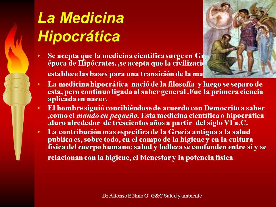 Dr Alfonso E Nino G G&C Salud y ambiente La Medicina Hipocrática Se acepta que la medicina científica surge en Grecia (IV ac) en la época de Hipócrate