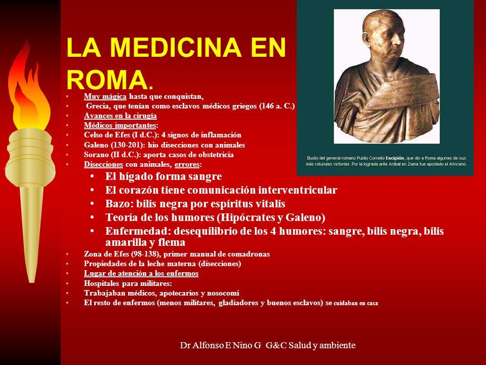 Dr Alfonso E Nino G G&C Salud y ambiente LA MEDICINA EN ROMA. Muy mágica hasta que conquistan, Grecia, que tenían como esclavos médicos griegos (146 a