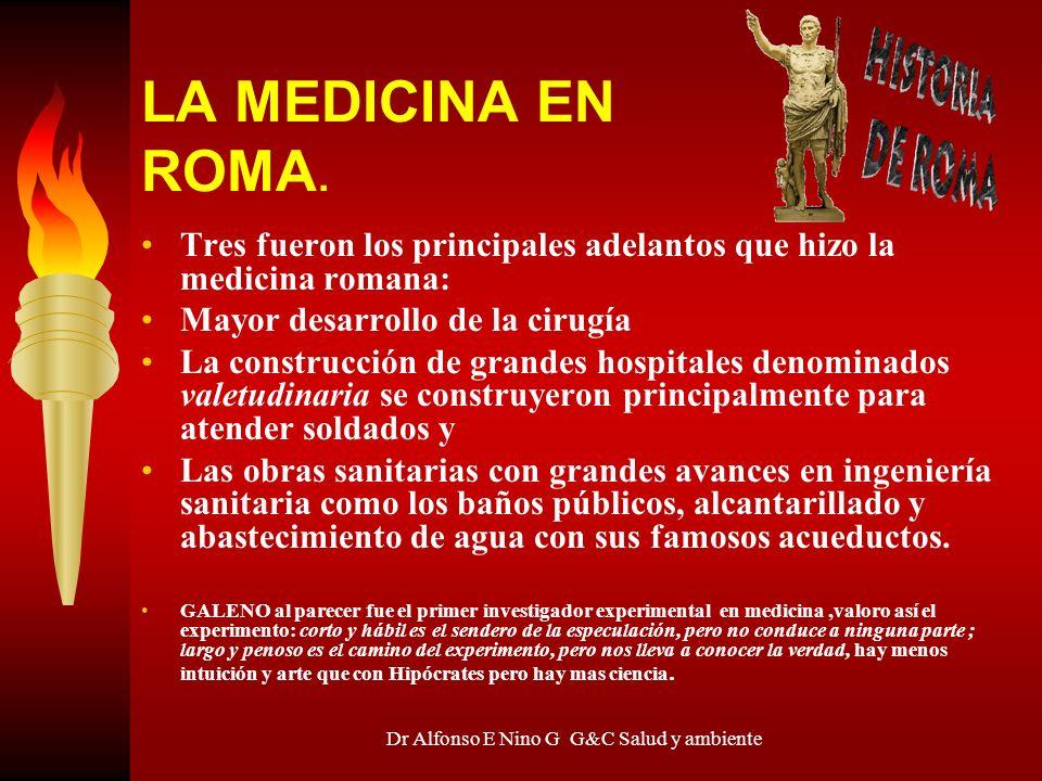 Dr Alfonso E Nino G G&C Salud y ambiente LA MEDICINA EN ROMA. Tres fueron los principales adelantos que hizo la medicina romana: Mayor desarrollo de l