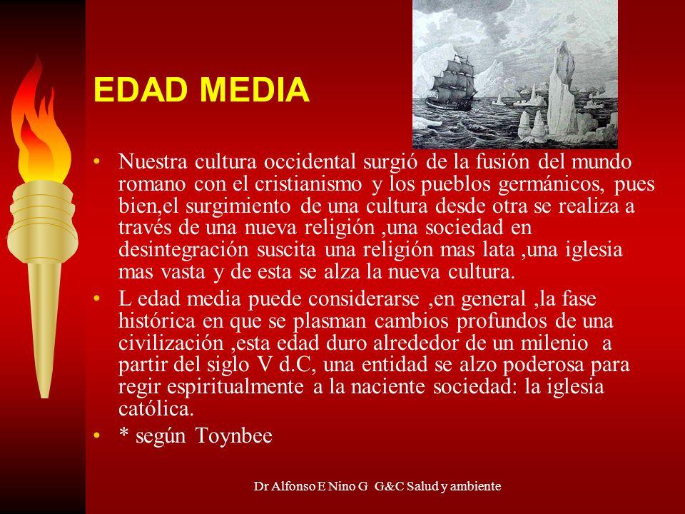 Dr Alfonso E Nino G G&C Salud y ambiente EDAD MEDIA Nuestra cultura occidental surgió de la fusión del mundo romano con el cristianismo y los pueblos