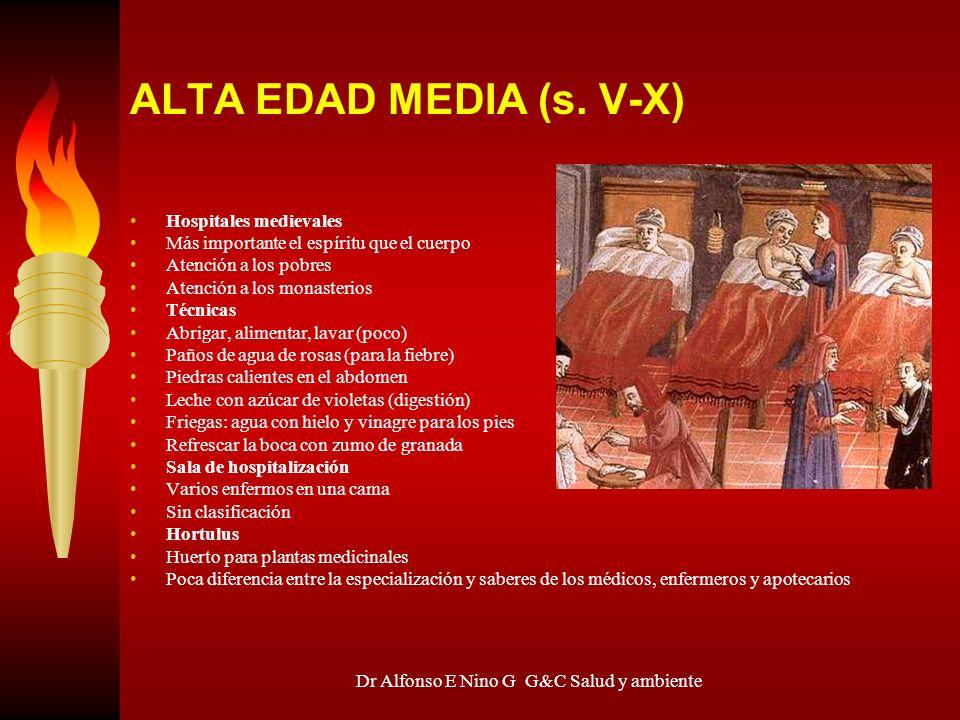 Dr Alfonso E Nino G G&C Salud y ambiente ALTA EDAD MEDIA (s. V-X) Hospitales medievales Más importante el espíritu que el cuerpo Atención a los pobres