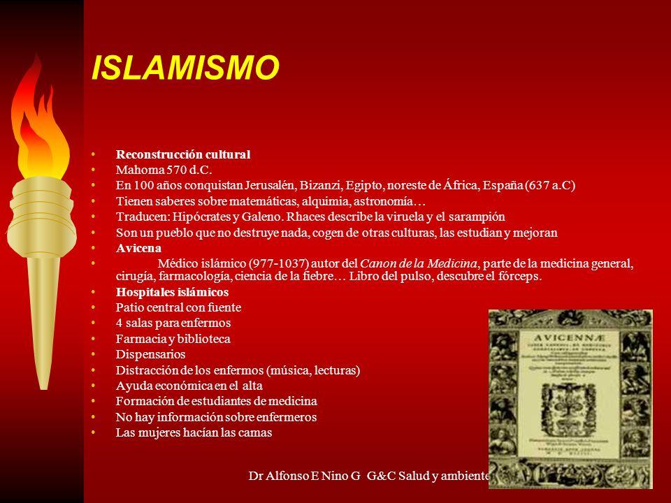 Dr Alfonso E Nino G G&C Salud y ambiente ISLAMISMO Reconstrucción cultural Mahoma 570 d.C. En 100 años conquistan Jerusalén, Bizanzi, Egipto, noreste