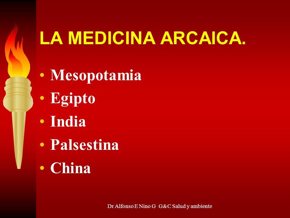Dr Alfonso E Nino G G&C Salud y ambiente LA MEDICINA ARCAICA. Mesopotamia Egipto India Palsestina China