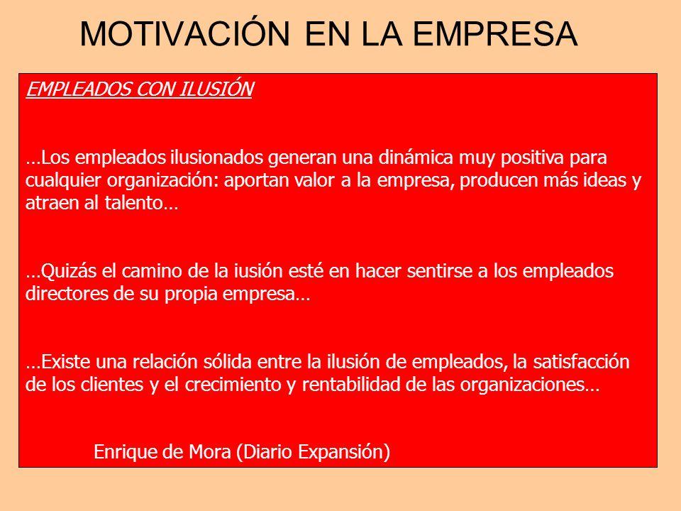 MOTIVACIÓN EN LA EMPRESA EMPLEADOS CON ILUSIÓN …Los empleados ilusionados generan una dinámica muy positiva para cualquier organización: aportan valor