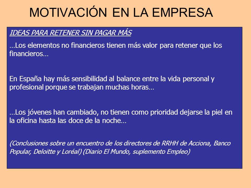 MOTIVACIÓN EN LA EMPRESA IDEAS PARA RETENER SIN PAGAR MÁS …Los elementos no financieros tienen más valor para retener que los financieros… En España h