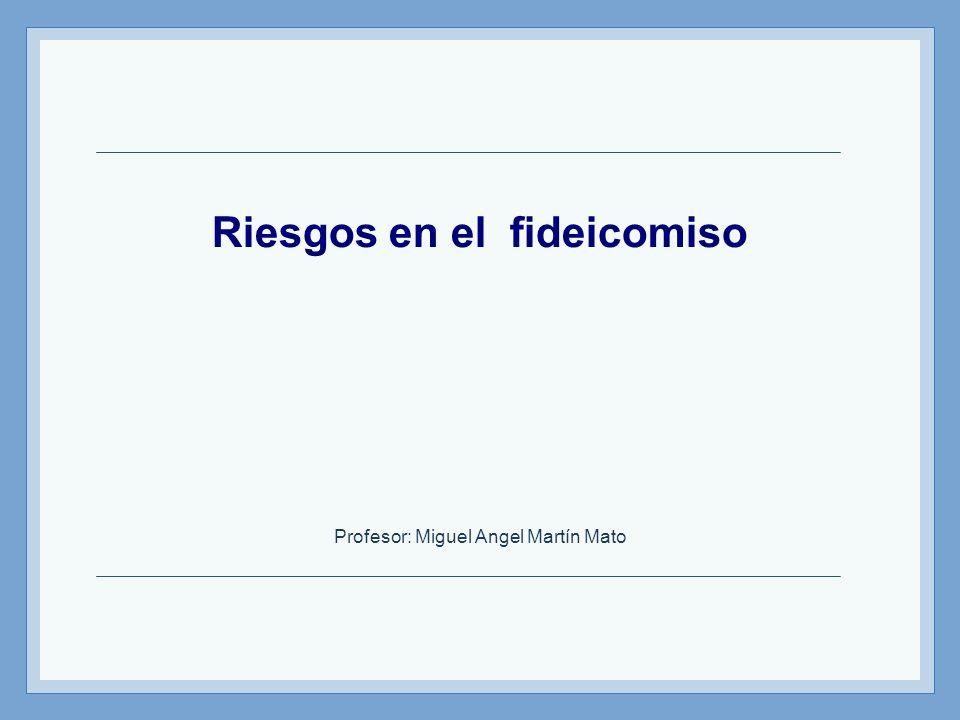 Riesgos en el fideicomiso Profesor: Miguel Angel Martín Mato