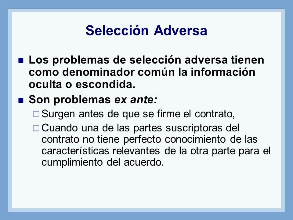 Los problemas de selección adversa tienen como denominador común la información oculta o escondida. Son problemas ex ante: Surgen antes de que se firm