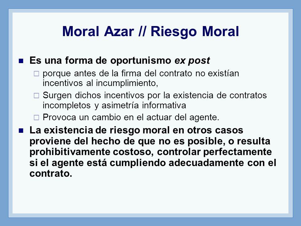 Moral Azar // Riesgo Moral Es una forma de oportunismo ex post porque antes de la firma del contrato no existían incentivos al incumplimiento, Surgen