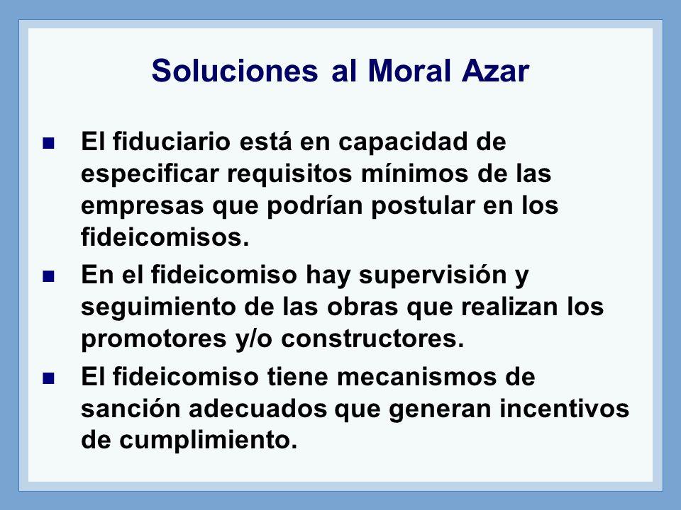 Soluciones al Moral Azar El fiduciario está en capacidad de especificar requisitos mínimos de las empresas que podrían postular en los fideicomisos. E
