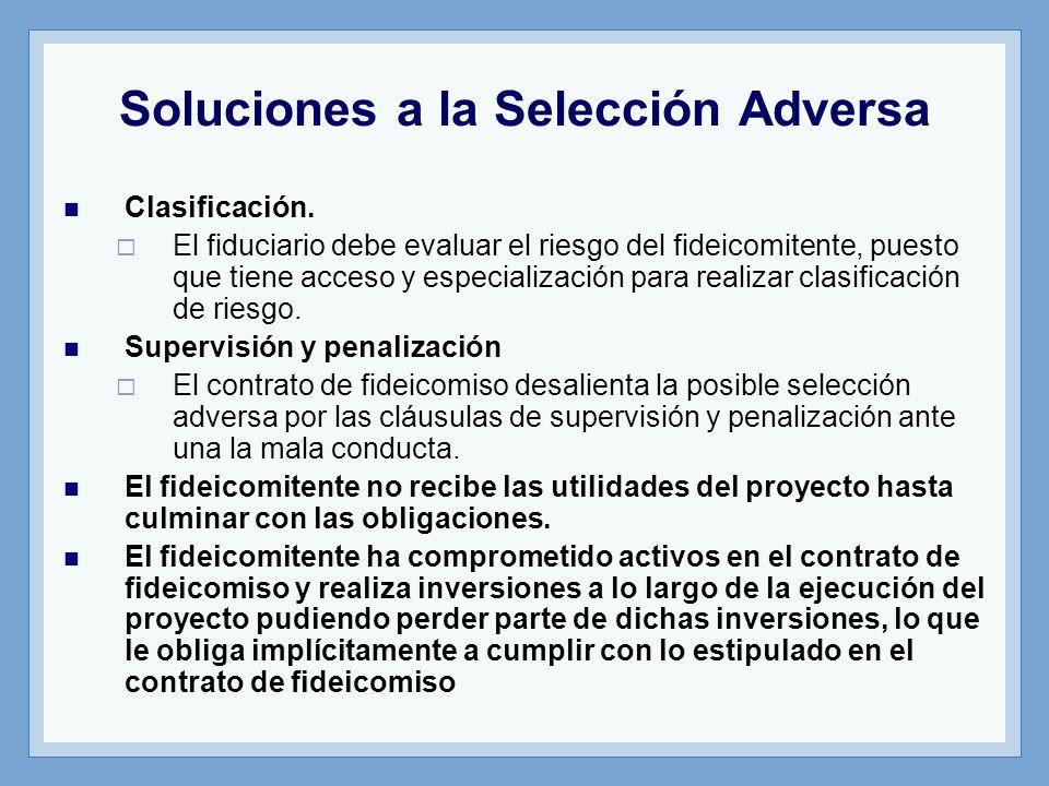 Soluciones a la Selección Adversa Clasificación. El fiduciario debe evaluar el riesgo del fideicomitente, puesto que tiene acceso y especialización pa