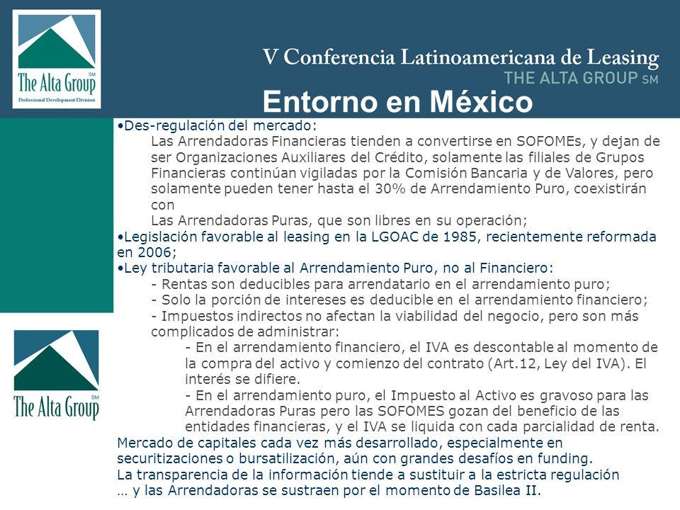 Insertar logo Entorno en México Des-regulación del mercado: Las Arrendadoras Financieras tienden a convertirse en SOFOMEs, y dejan de ser Organizacion