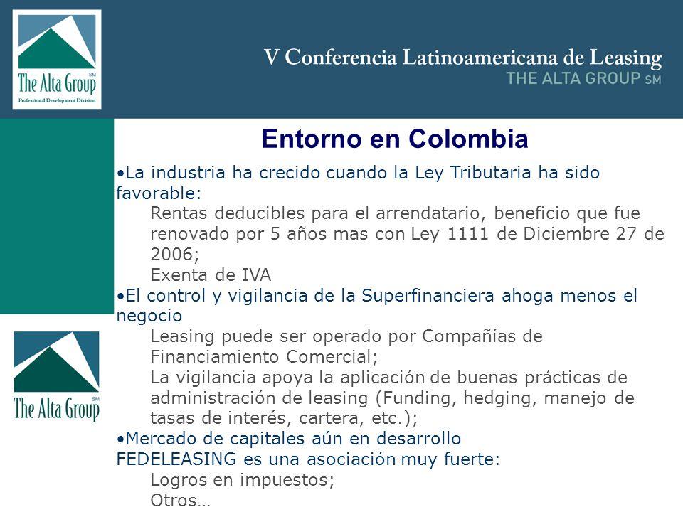 Insertar logo Entorno en Colombia La industria ha crecido cuando la Ley Tributaria ha sido favorable: Rentas deducibles para el arrendatario, benefici