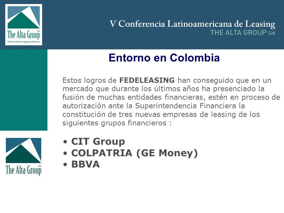 Insertar logo Entorno en Colombia Estos logros de FEDELEASING han conseguido que en un mercado que durante los últimos años ha presenciado la fusión d
