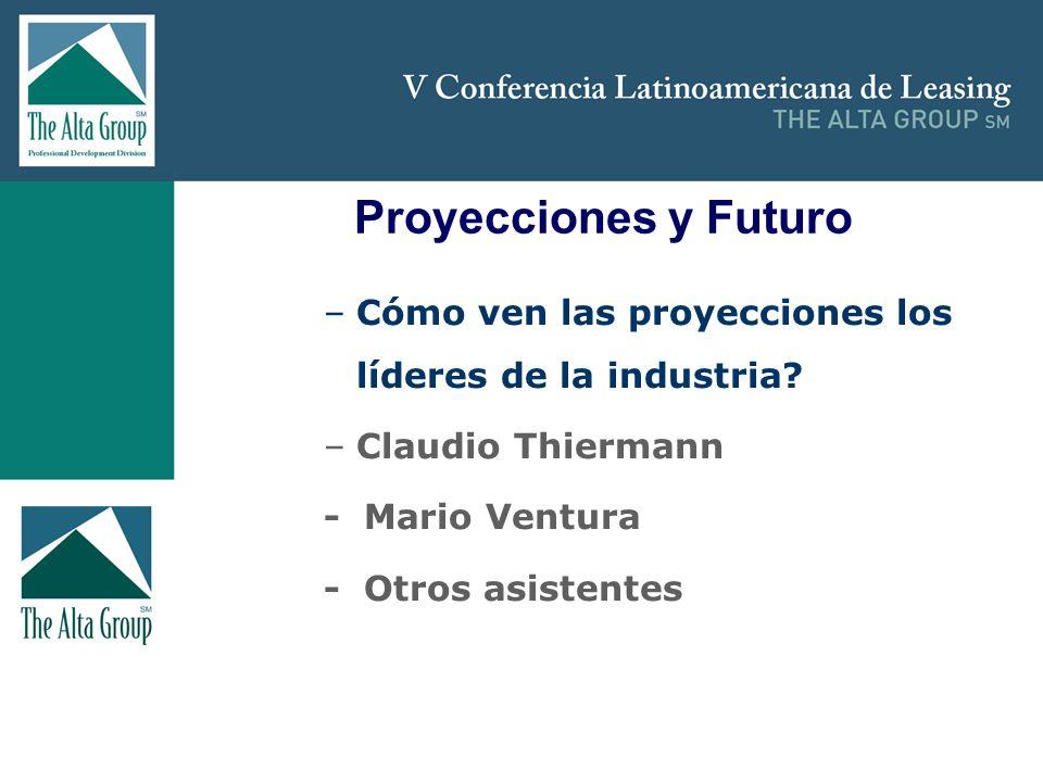 Insertar logo Proyecciones y Futuro –Cómo ven las proyecciones los líderes de la industria? –Claudio Thiermann - Mario Ventura - Otros asistentes