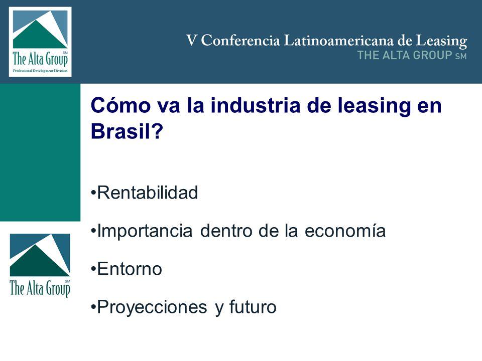 Insertar logo Cómo va la industria de leasing en Brasil? Rentabilidad Importancia dentro de la economía Entorno Proyecciones y futuro