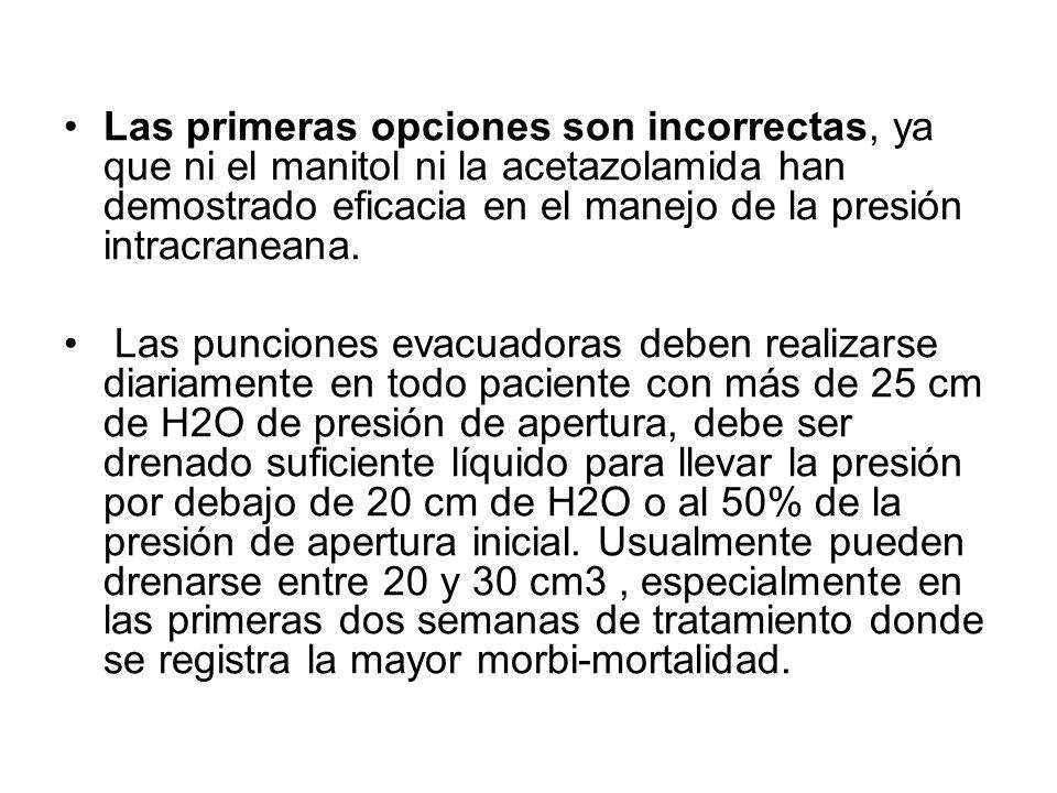 Las primeras opciones son incorrectas, ya que ni el manitol ni la acetazolamida han demostrado eficacia en el manejo de la presión intracraneana. Las