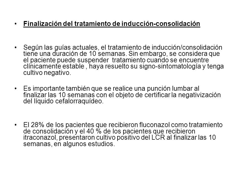 Finalización del tratamiento de inducción-consolidación Según las guías actuales, el tratamiento de inducción/consolidación tiene una duración de 10 s