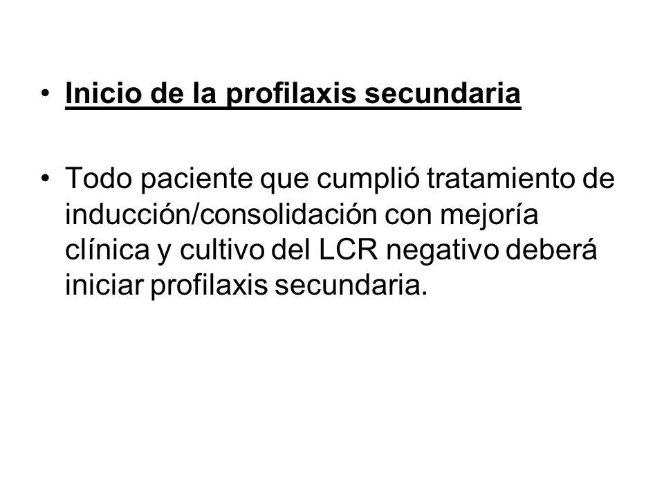 Inicio de la profilaxis secundaria Todo paciente que cumplió tratamiento de inducción/consolidación con mejoría clínica y cultivo del LCR negativo deb