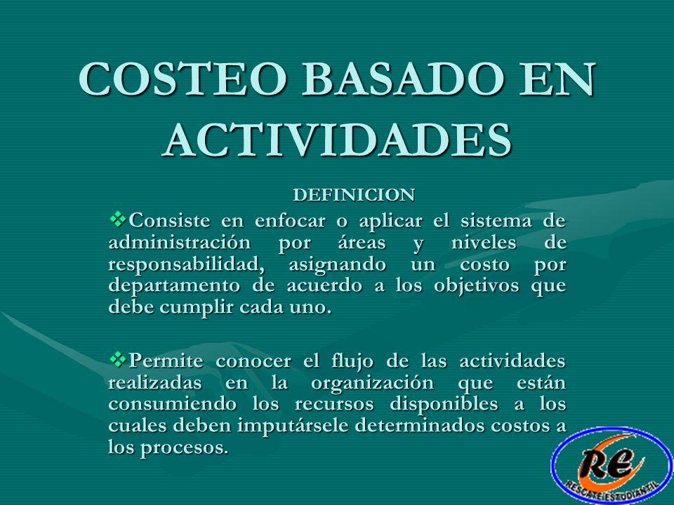 COSTEO BASADO EN ACTIVIDADES DEFINICION Consiste en enfocar o aplicar el sistema de administración por áreas y niveles de responsabilidad, asignando u