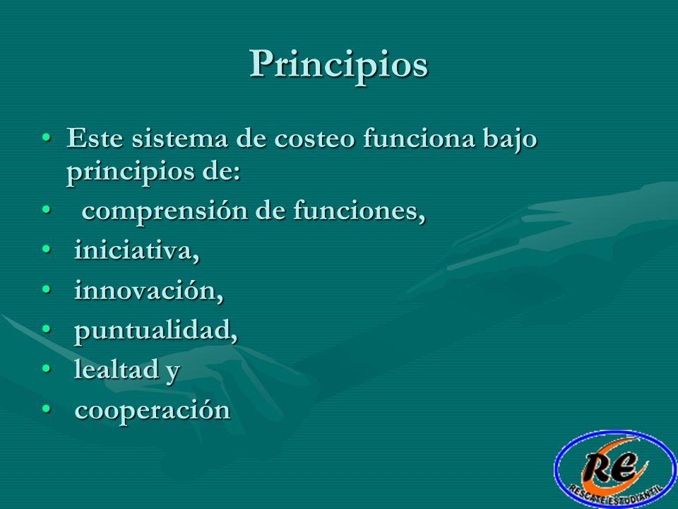 Principios Este sistema de costeo funciona bajo principios de:Este sistema de costeo funciona bajo principios de: comprensión de funciones, comprensió
