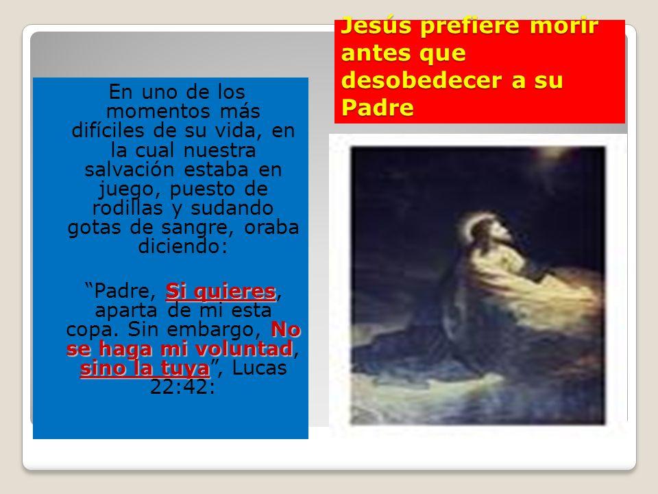 Jesús prefiere morir antes que desobedecer a su Padre En uno de los momentos más difíciles de su vida, en la cual nuestra salvación estaba en juego, p