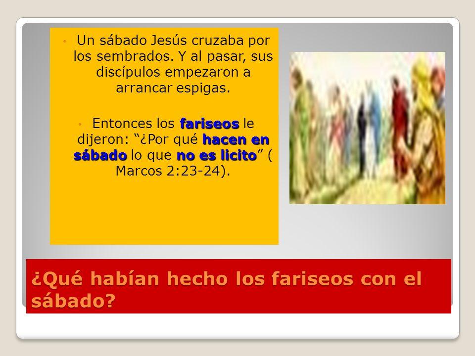 ¿Qué habían hecho los fariseos con el sábado? Un sábado Jesús cruzaba por los sembrados. Y al pasar, sus discípulos empezaron a arrancar espigas. fari