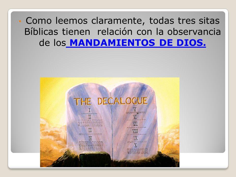 MANDAMIENTOS DE DIOS. Como leemos claramente, todas tres sitas Bíblicas tienen relación con la observancia de los MANDAMIENTOS DE DIOS.