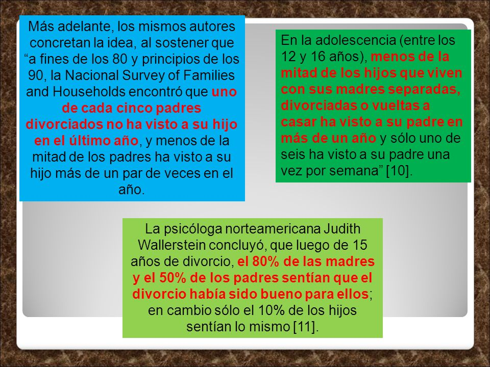 Más adelante, los mismos autores concretan la idea, al sostener que a fines de los 80 y principios de los 90, la Nacional Survey of Families and House