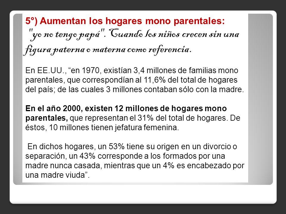 5°) Aumentan los hogares mono parentales: