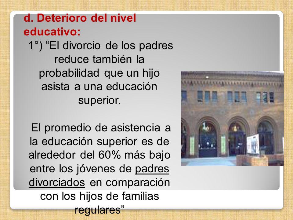 d. Deterioro del nivel educativo: 1°) El divorcio de los padres reduce también la probabilidad que un hijo asista a una educación superior. El promedi