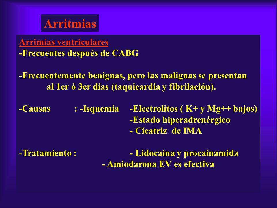 Arritmias Arrimias ventriculares -Frecuentes después de CABG -Frecuentemente benignas, pero las malignas se presentan al 1er ó 3er días (taquicardia y