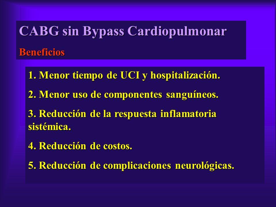 CABG sin Bypass Cardiopulmonar Beneficios 1. Menor tiempo de UCI y hospitalización. 2. Menor uso de componentes sanguíneos. 3. Reducción de la respues