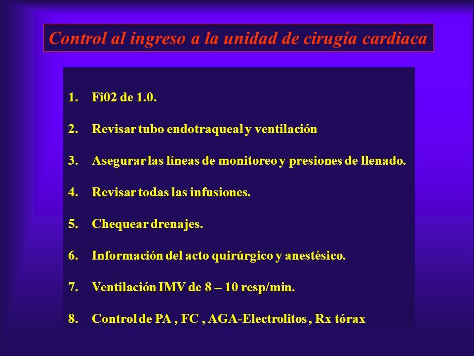 Control al ingreso a la unidad de cirugía cardiaca 1.Fi02 de 1.0. 2.Revisar tubo endotraqueal y ventilación 3.Asegurar las líneas de monitoreo y presi