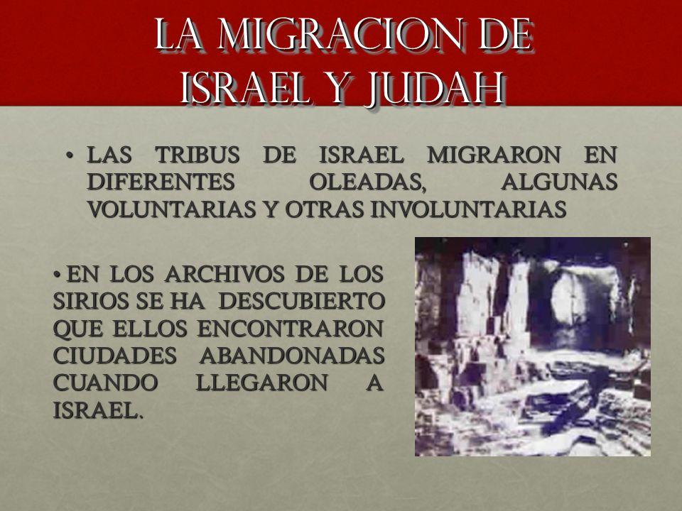 La migracion de israel y judah LAS TRIBUS DE ISRAEL MIGRARON EN DIFERENTES OLEADAS, ALGUNAS VOLUNTARIAS Y OTRAS INVOLUNTARIASLAS TRIBUS DE ISRAEL MIGR
