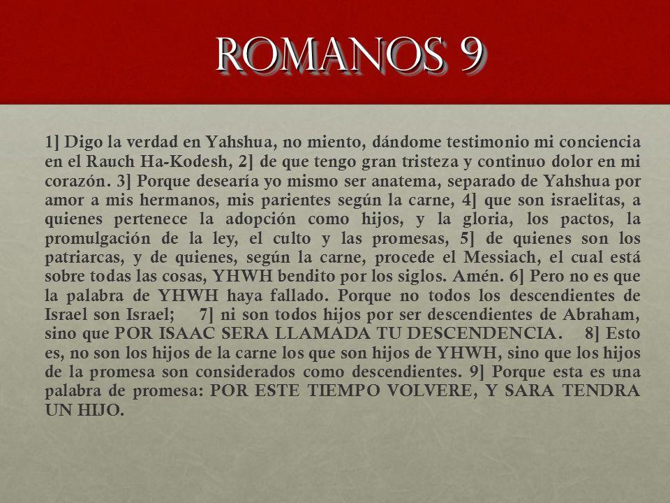 Romanos 9 1] Digo la verdad en Yahshua, no miento, dándome testimonio mi conciencia en el Rauch Ha-Kodesh, 2] de que tengo gran tristeza y continuo do