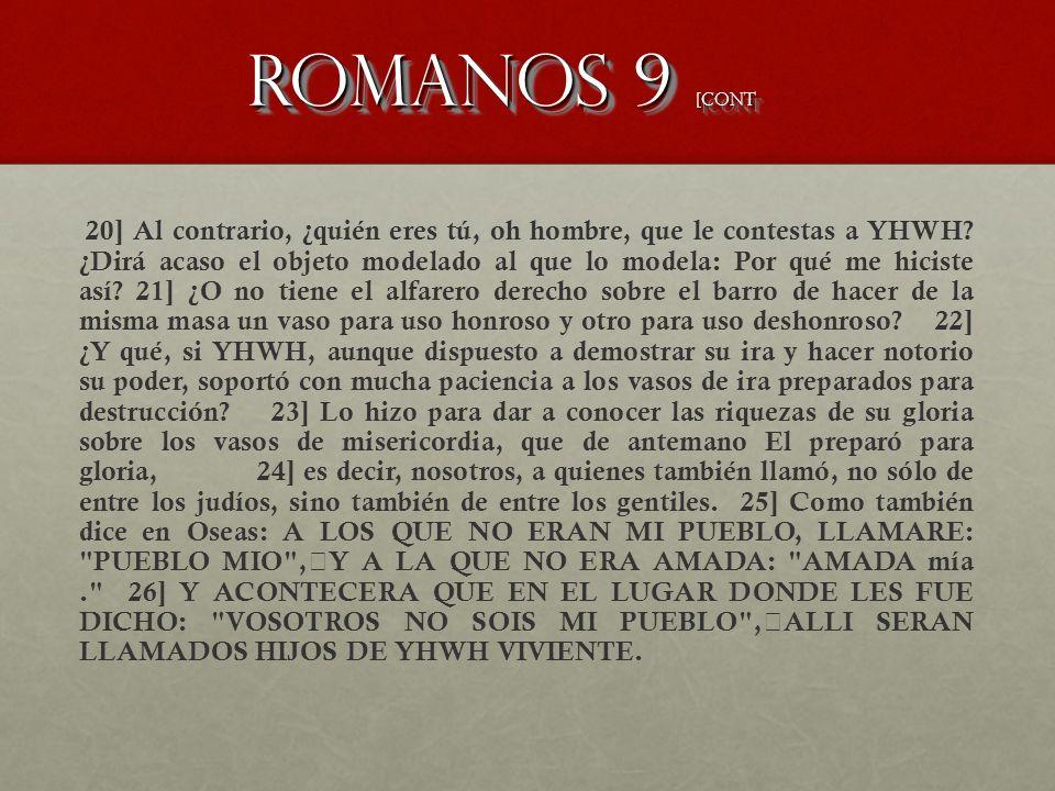 Romanos 9 [CONT 20] Al contrario, ¿quién eres tú, oh hombre, que le contestas a YHWH? ¿Dirá acaso el objeto modelado al que lo modela: Por qué me hici