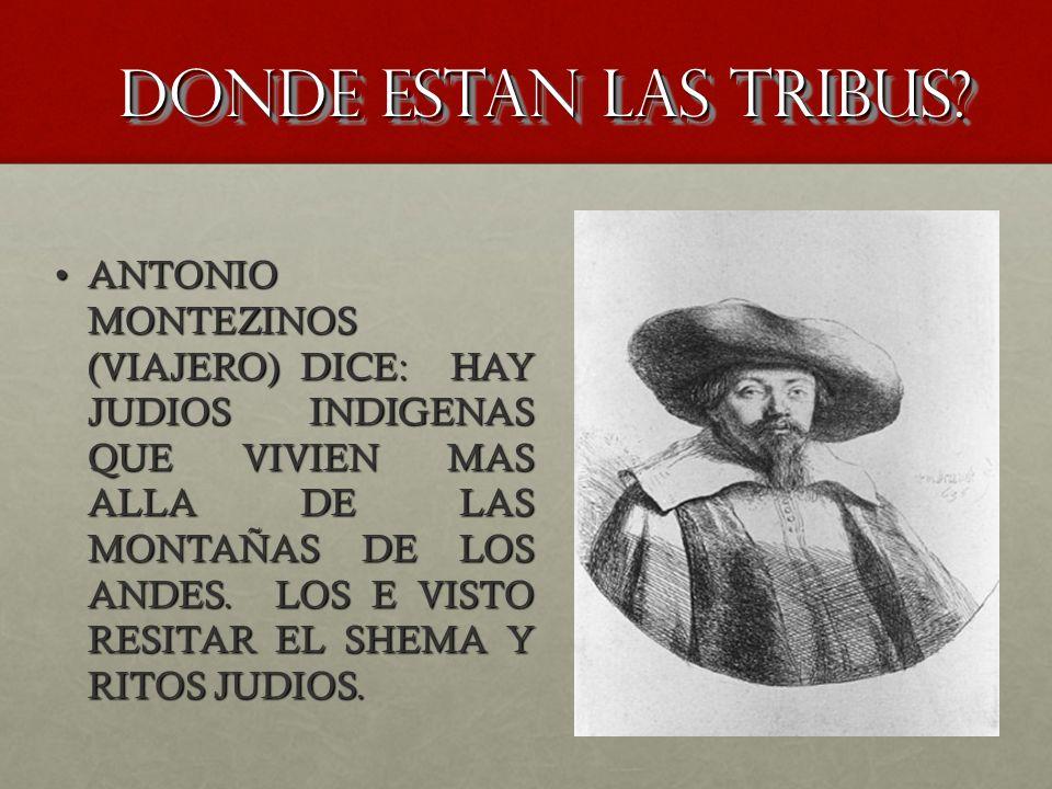 DONDE ESTAN LAS TRIBUS? ANTONIO MONTEZINOS (VIAJERO) DICE: HAY JUDIOS INDIGENAS QUE VIVIEN MAS ALLA DE LAS MONTAÑAS DE LOS ANDES. LOS E VISTO RESITAR