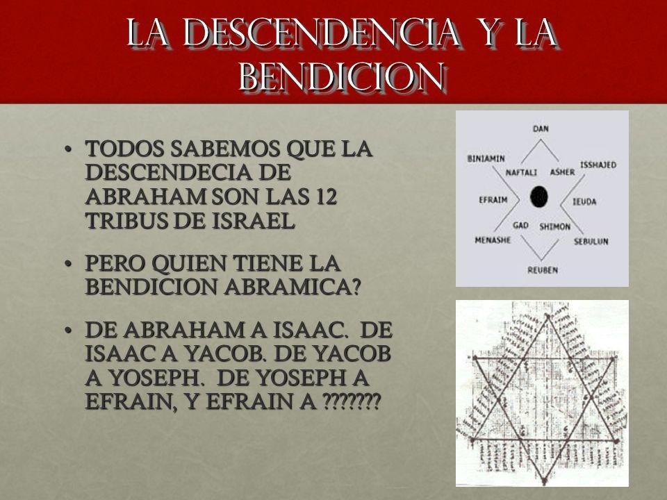 LA DESCENDENCIA Y LA BENDICION TODOS SABEMOS QUE LA DESCENDECIA DE ABRAHAM SON LAS 12 TRIBUS DE ISRAELTODOS SABEMOS QUE LA DESCENDECIA DE ABRAHAM SON