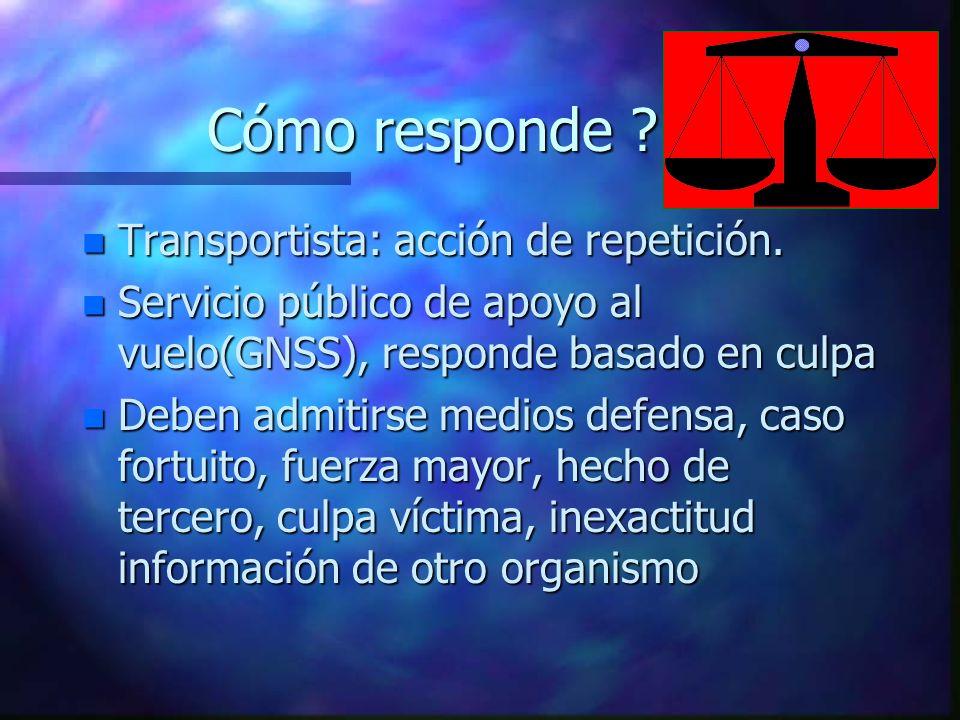 Cómo responde ? n Transportista: acción de repetición. n Servicio público de apoyo al vuelo(GNSS), responde basado en culpa n Deben admitirse medios d