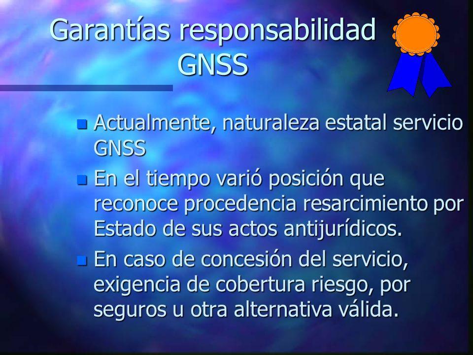 Garantías responsabilidad GNSS n Actualmente, naturaleza estatal servicio GNSS n En el tiempo varió posición que reconoce procedencia resarcimiento po