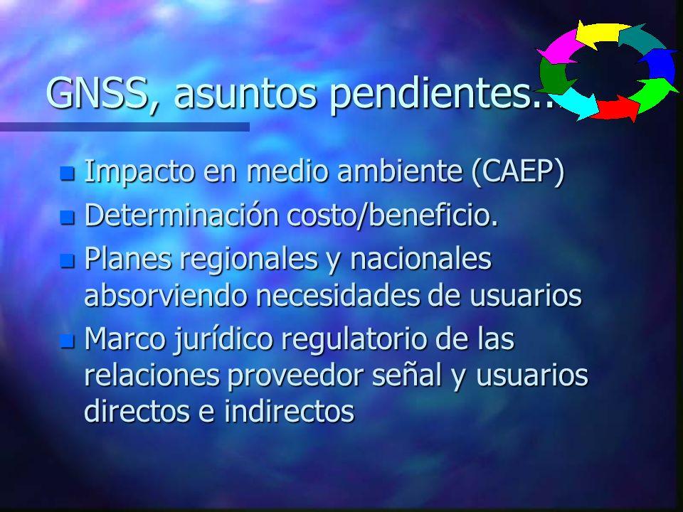 GNSS, asuntos pendientes... n Impacto en medio ambiente (CAEP) n Determinación costo/beneficio. n Planes regionales y nacionales absorviendo necesidad