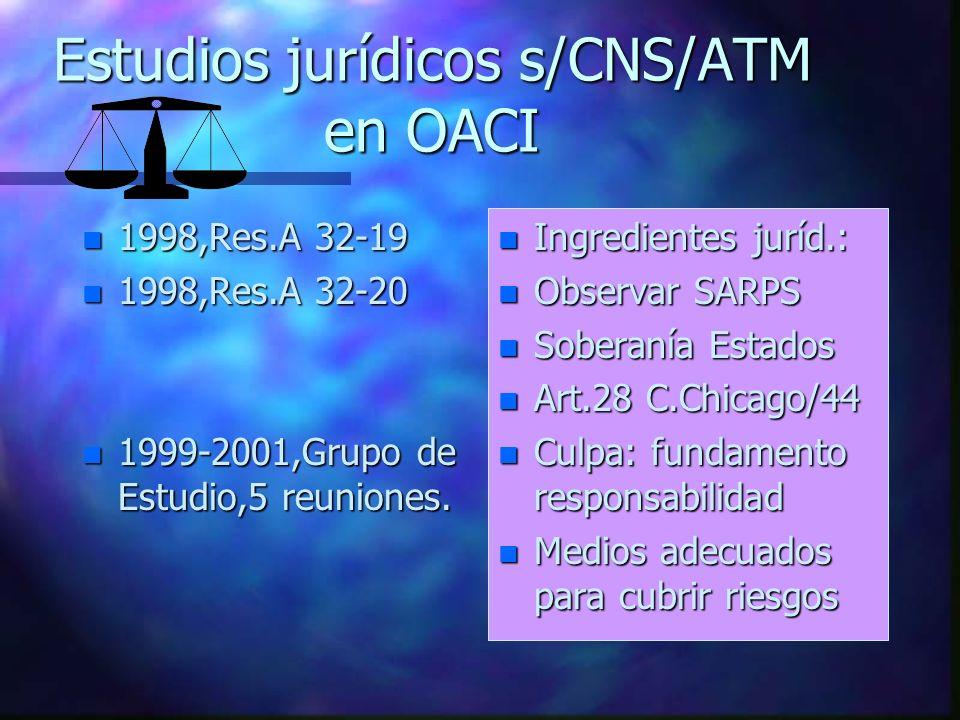 Estudios jurídicos s/CNS/ATM en OACI n 1998,Res.A 32-19 n 1998,Res.A 32-20 n 1999-2001,Grupo de Estudio,5 reuniones. n Ingredientes juríd.: n Observar