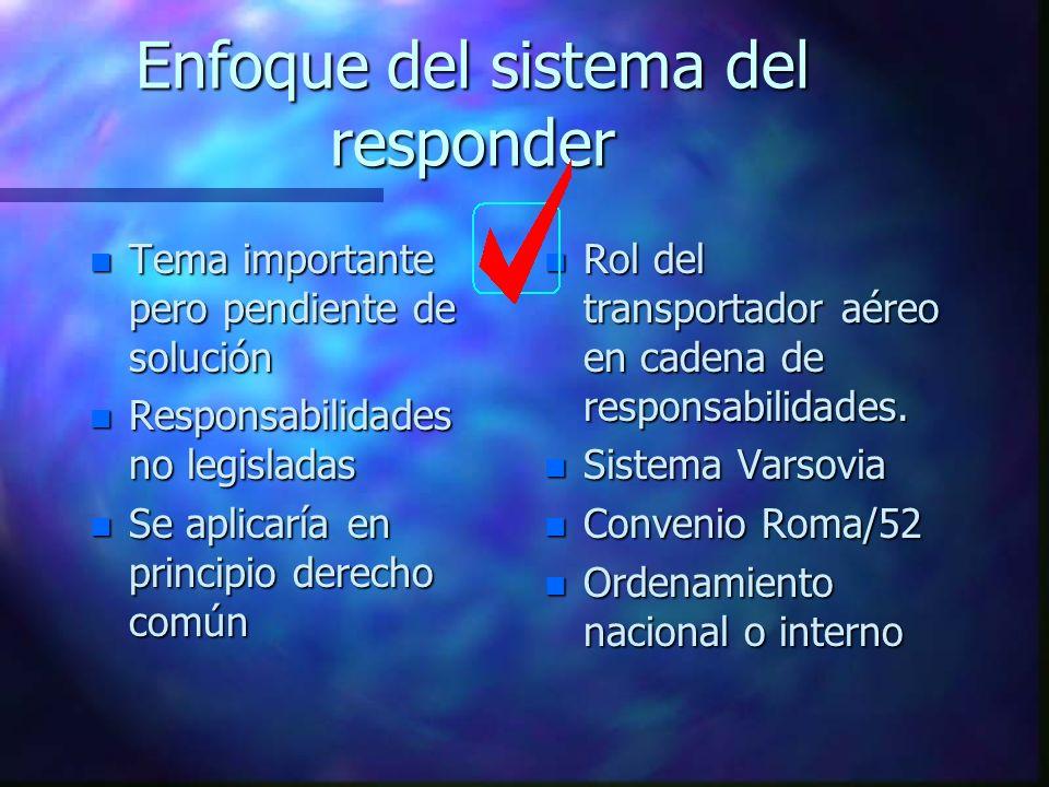 Enfoque del sistema del responder n Tema importante pero pendiente de solución n Responsabilidades no legisladas n Se aplicaría en principio derecho c