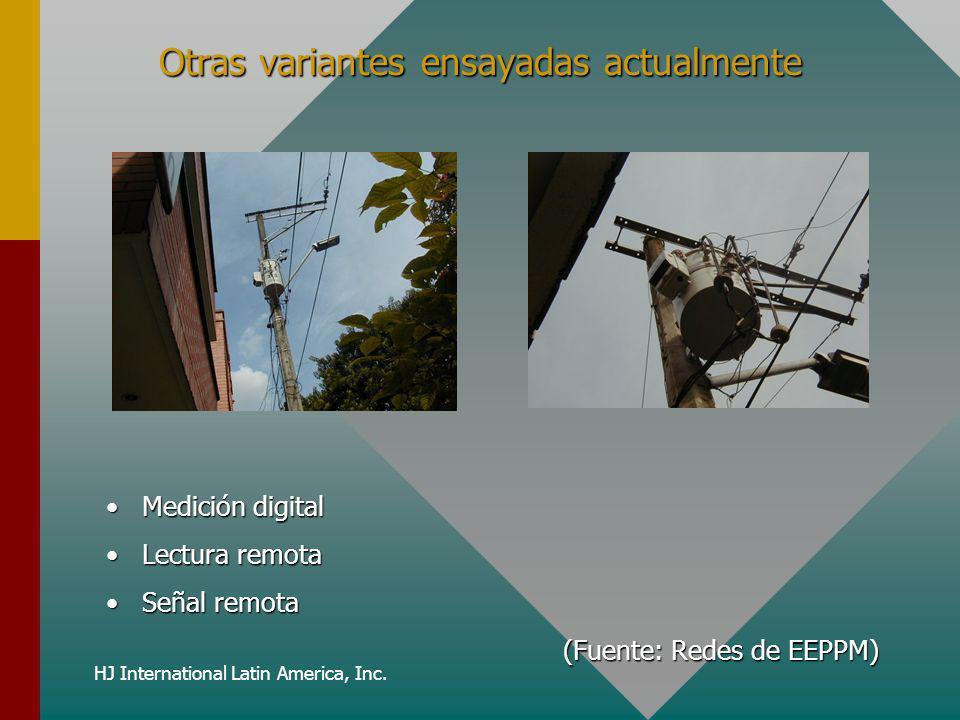 HJ International Latin America, Inc. Otras variantes ensayadas actualmente Medición digital Lectura remota Señal remota (Fuente: Redes de EEPPM)