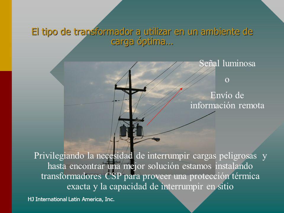 HJ International Latin America, Inc. El tipo de transformador a utilizar en un ambiente de carga óptima… Señal luminosa o Envío de información remota
