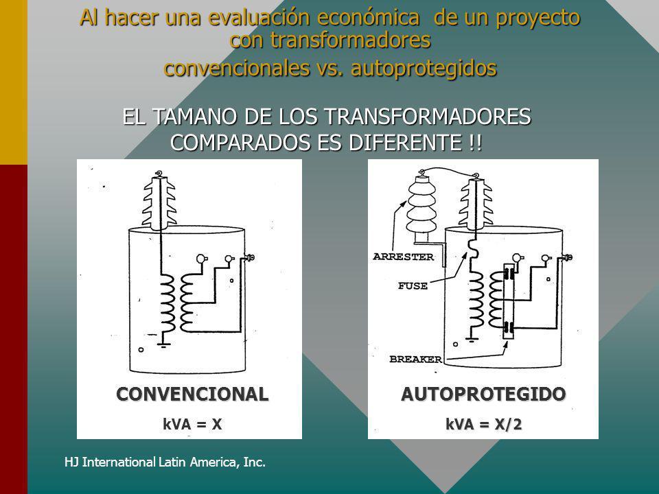 HJ International Latin America, Inc. Al hacer una evaluación económica de un proyecto con transformadores convencionales vs. autoprotegidos EL TAMANO
