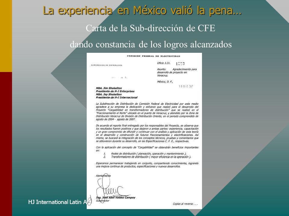 HJ International Latin America, Inc. La experiencia en México valió la pena… Carta de la Sub-dirección de CFE dando constancia de los logros alcanzado